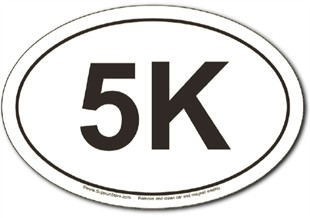 5K oval car magnet
