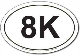 8K Run Oval Car Magnet