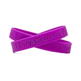 "I Buy Cruelty-Free - Animal Welfare Purple Wristband - Adult 8"""