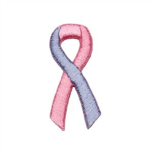 Pink Blue Ribbon Embroidered Stick-ons - 25-pack