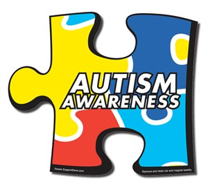 "Autism Awareness Puzzle Piece Car Magnet 6"" x 6.75"""