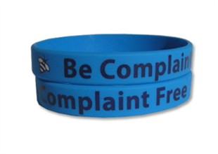 """Be Complaint Free"" Rubber Bracelet Wristband - Adult 8"""
