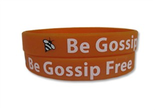 """Be Gossip Free"" Rubber Bracelet Wristband - Adult 8"""