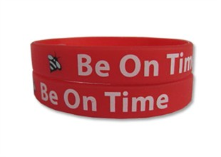 """Be On Time"" Rubber Bracelet Wristband - Adult 8"""