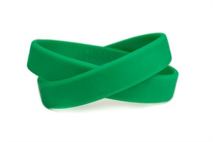 """Solid color green - blank rubber wristband - Adult 8"""""""