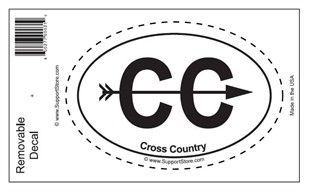 """Cross Country"" Bumper Sticker Decal - Oval"