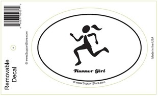 """Runner Girl"" Bumper Sticker Decal - Oval"