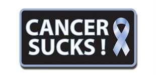 Cancer Sucks! Lapel Pin - Light Blue