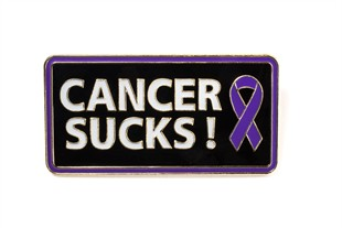 Cancer Sucks! Lapel Pin - Purple