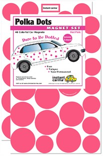 Pink Polka Dots Car Magnet Set