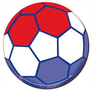 RWB Soccer Ball Car Magnet