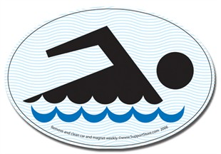 "Swimming Car Magnet 4""x6"" Oval"