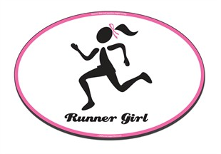 Pink Ribbon Runner Girl Car Magnet