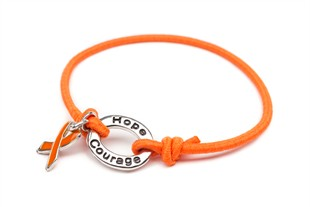 Orange Awareness Stretch Charm Bracelet