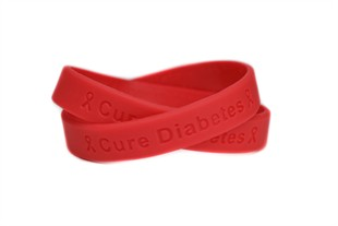 """""""Cure Diabetes"""" Red Rubber Bracelet Wristband - Youth 7"""""""