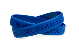 """Cure Paralysis"" Blue Rubber Bracelet Wristband - Adult 8"""