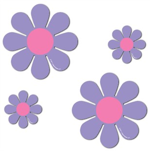 "Magnetic Daisies - Purple - Set of 4 (2 - 4.5"" and 2 - 9"")"