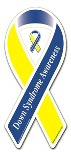 Down Syndrome Awareness  Blue & Yellow Ribbon Magnet