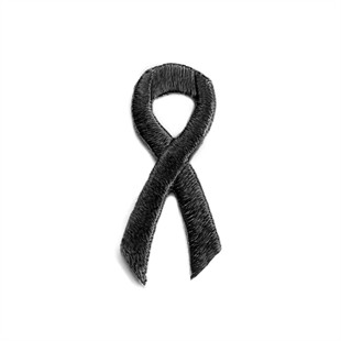 Black Ribbon Embroidered Stick-ons - 25-pack