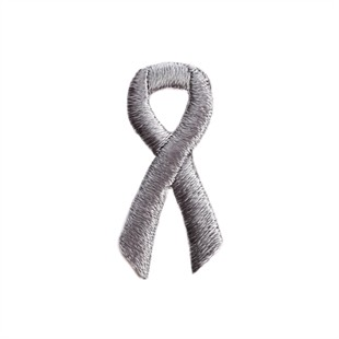 Grey Ribbon Embroidered Stick-ons - 25-pack