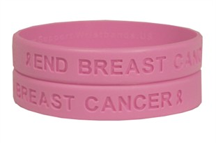 """""""End Breast Cancer"""" Pink Rubber Bracelet Wristband - Youth 7"""""""