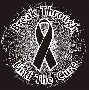 Black  Break Through...Find The Cure!  Static Window Cling
