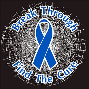 Blue  Break Through...Find The Cure!  Static Window Cling