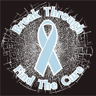 Light Blue   Break Through...Find The Cure!  Static Window Cling