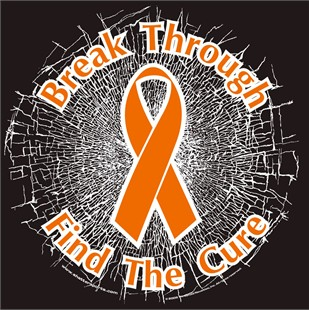 Orange Break Through...Find The Cure! Static Window Cling