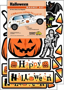 "A ""Halloween costume for your car!"" Magnet Set"