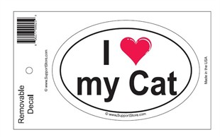 """I Love My Cat"" Bumper Sticker Decal - Oval"