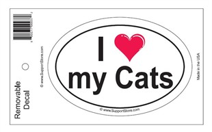 """I Love My Cats"" Bumper Sticker Decal"