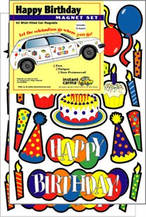 Happy Birthday Car Magnet Set