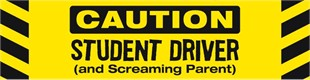 """Caution Student Driver and Screaming Parent"" Car Magnet"