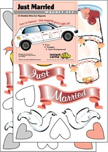 Just Married Wedding Car Magnet Set