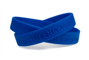 Mental Health Awareness Blue Rubber Bracelet Wristband - Adult 8""