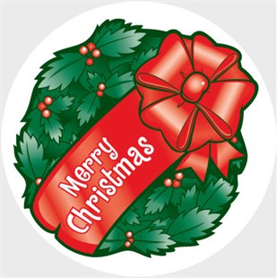 Merry Christmas Wreath Car Magnet - white border