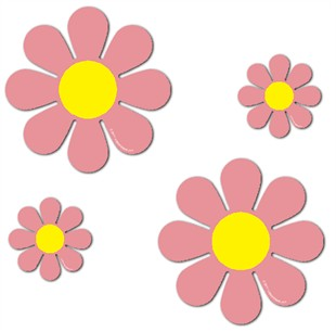 "Magnetic Daisies - Pink - Set of 4 (2 - 4.5"" and 2 - 9"")"