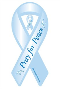 Pray for Peace Ribbon Car Magnet