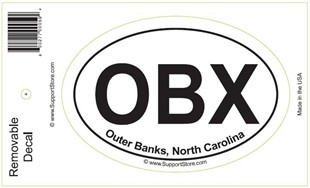 OBX Outer Banks North Carolina Oval Removable Decal