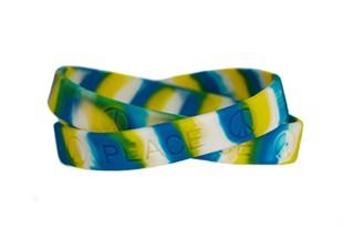 """""""Peace"""" Rubber Bracelet Wristband - Tie-Dye - Adult 8"""""""
