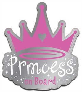 """Princess on Board"" Pink Car Magnet"