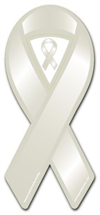 Light Grey Pearl - Silver - White Awareness  Ribbon Magnet