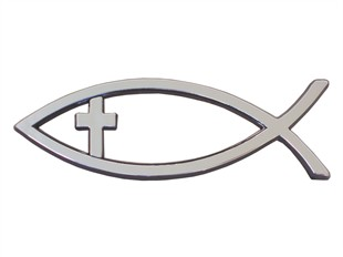Christian Fish with Cross Emblem - Large - Adhesive