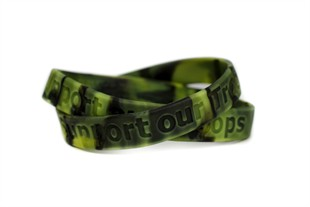 """Support our Troops"" Rubber Bracelet Wristband Camouflage - Youth 7"""