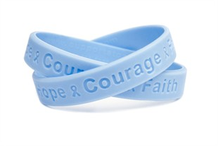 """Hope Courage Faith""  Light Blue Rubber Bracelet Wristband - Youth 7"""