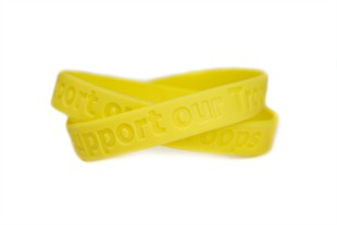 """SUPPORT OUR TROOPS"" Rubber Bracelet Wristband - Yellow � Youth 7"""