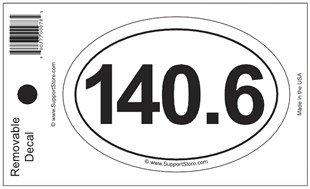 140.6 Bumper Sticker Decal - Oval