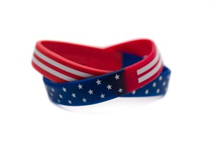 Patriotic Flag Bracelet Youth Sized Rwb Rubber Wristband