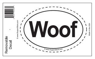 """Woof"" Bumper Sticker Decal - Oval"
